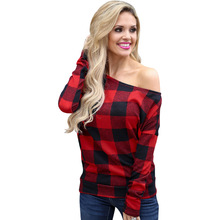 Fashion Scotland Plaid Print T-shirts Women Autumn Long Sleeve Off The Shoulder Casual Sexy Top Female Women Clothes 2019 Tee