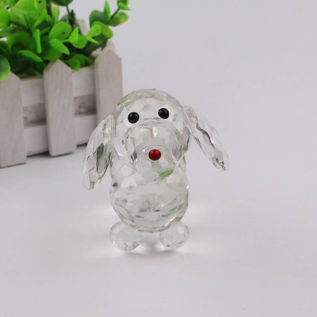 Cute Crystal Dog Figurine Collection Glass Ornament Statue Animal Gift for Home Decor Accessories 4