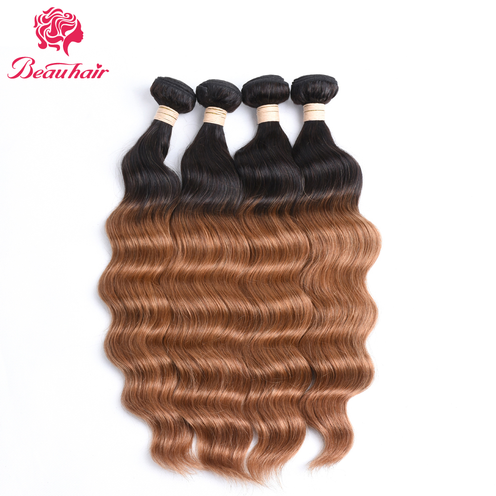 Beau Hair 3 Human Hair Bundle T1B/30# Hair Weaving Ombre Color Malaysia Ocean Wave Non Remy Hair Free Shipping 3 Bundle One Pack