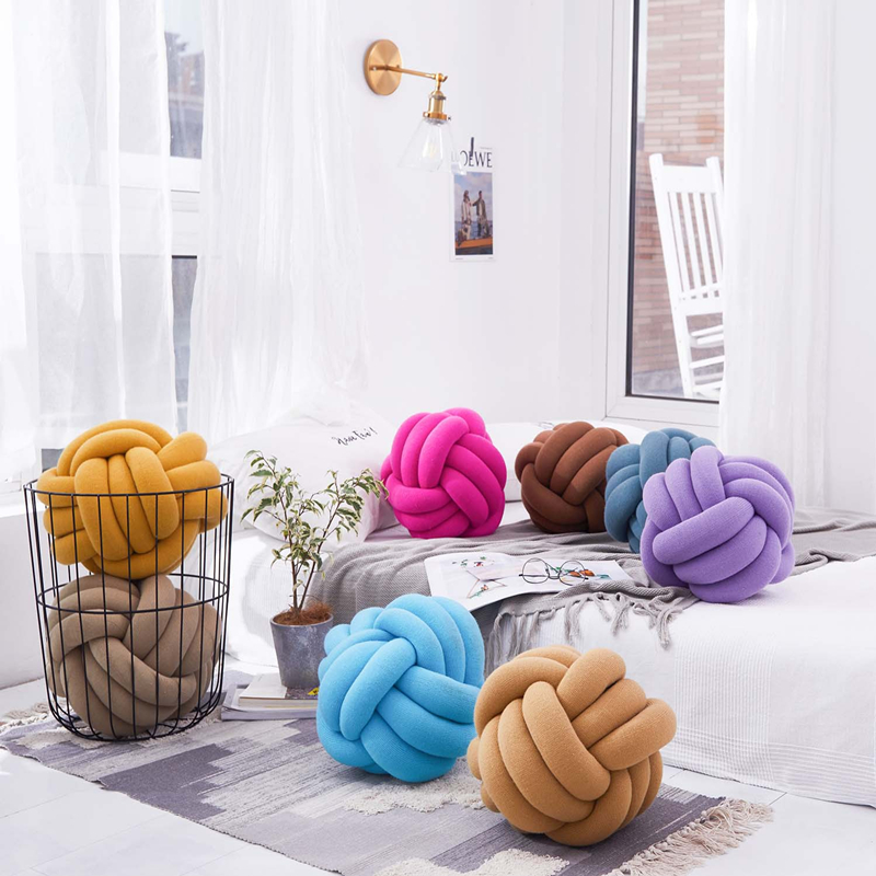 New Round Knotted Plush Ball Nordic Style Stuffed Throw Pillow Waist Back Cushion Home Sofa Bed Decoration Dolls Toys 30cm