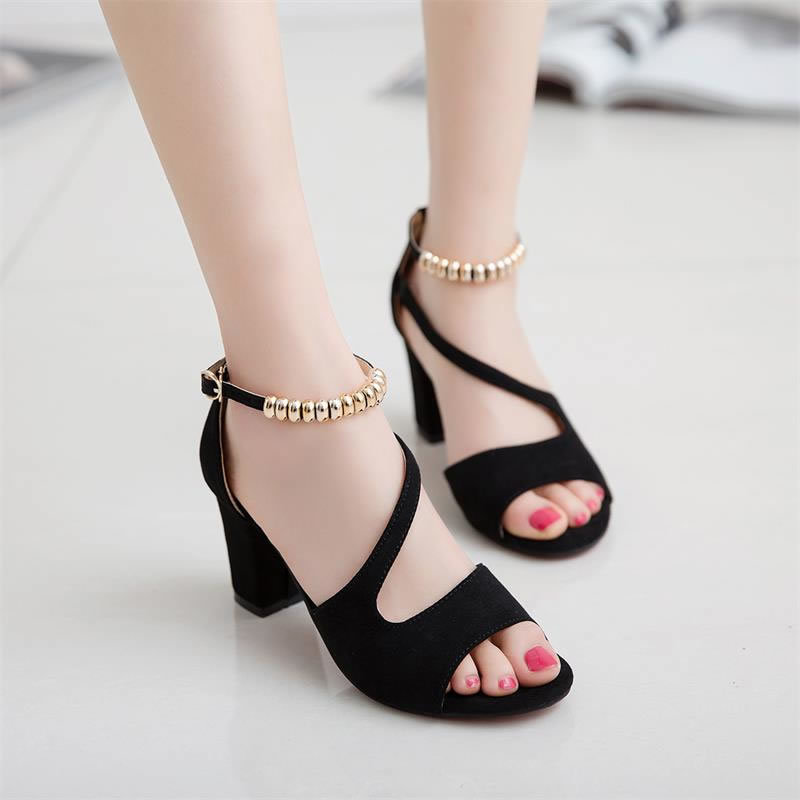 spring summer sexy fish mouth hollow Roman sandals thick with word with beaded high heels female summer Sexy female sandals 3