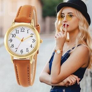 Image 4 - Japão movimento de quartzo números árabes fácil leitura correias de couro senhora relógio feminino cor doces simples dial watch