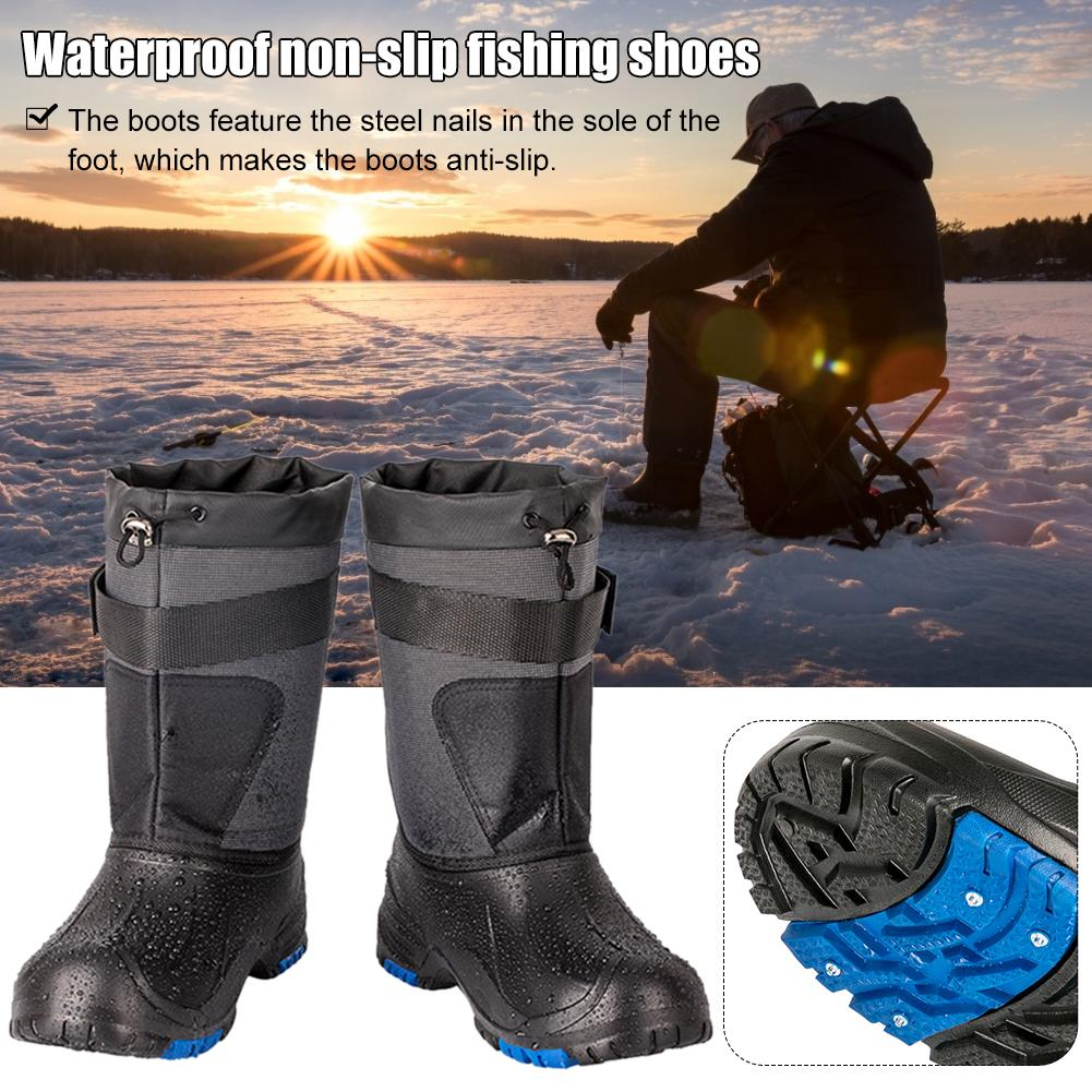 Outdoor Winter Snow Fishing Boots Waders Hunting Boot Fishing Caza Snow Waterproof Shoes Non-slip With Steel Nails Camping Boots