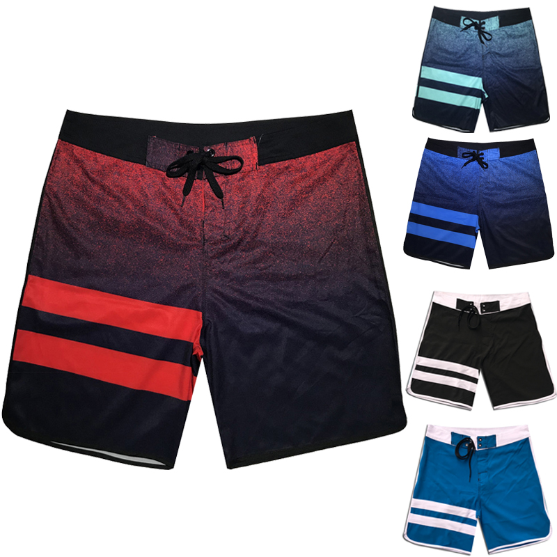 2019 New Men Summer Quick Dry   Board     Shorts   Elastic Surfing Fitness Gym   Shorts   Beach Surfing   Short   High Quality Gym Boardshorts