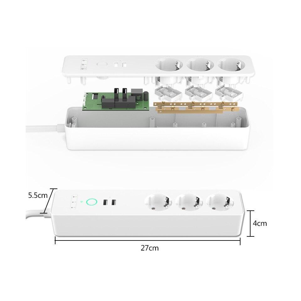 Prise de courant intelligente EU Wifi 3 prises prise 2 Port de chargement USB synchronisation Tuya App commande vocale travailler avec Alexa Google Home - 4