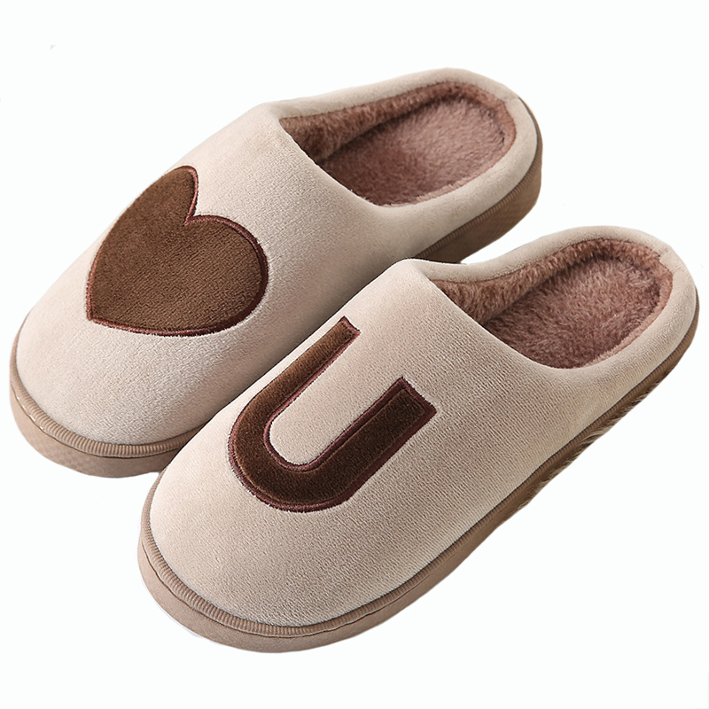 35-44 Yards Warm Slippers New Couple Home Cotton Slippers Men And Women Winter Indoor Home Plush Slippers