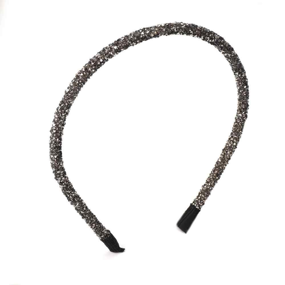 Moda kore kristal yumuşak kafa bandı kadınlar için Rhinestone Hairband boncuk çerçeve kızlar saç aksesuarları basit şapkalar