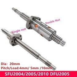 1PC 100 250 300 350 400 450 500 550 mm SFU 2005 2004 2010 20mm CNC realizacji śruby kulowej z nakrętka kulkowa BK/BF15 koniec obrabiane dla 6040 w Prowadnice liniowe od Majsterkowanie na