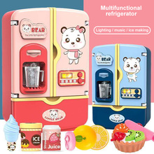 Girls Play Refrigerator Kitchen Toys / Children Play Simulation Multifunctional Electric Double Door Refrigerator Toys