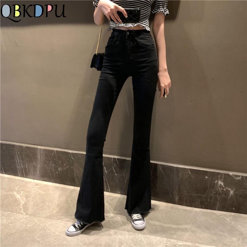 Female Vintage Black Bell Bottom Jeans Women Elastic Skinny Flare Jeans Mom Slim High Waist Denim Tassel Ankle pants Streetwear