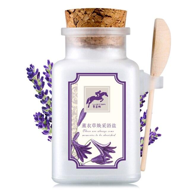Nature Lavender Bath Salt Oil Control Exfoliate Deep Cleaning Acne Men Women Body Care Bath Salt With Spoon 2