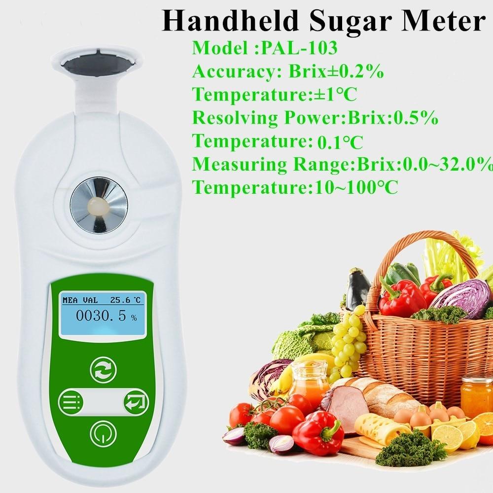 Digital Brix Meter Handheld Sugar Meter 0-32% Brix Refractive Index Refractometer Brix Sugar Concentration High Precision Tester