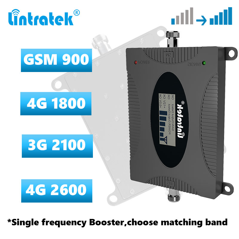 Lintratek Cellular Signal Booster 2G 3G 4G Singel Frequency Repeater GSM 900 DCS LTE 1800 WCDMA 2100 LTE 2600 Signal Amplifier