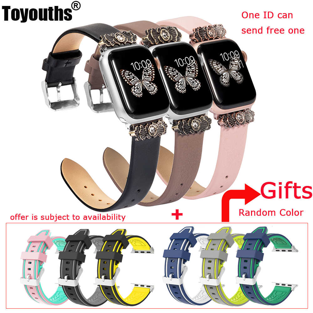 Soft Leather Band For Apple Watch 38mm 42mm iWatch Women Slim Metal with Unique Decorated Design Strap For iWtch Series 4 3 2 1