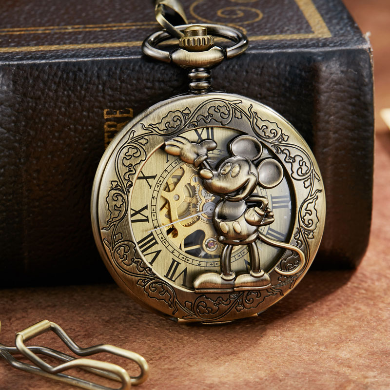 Unique Steampunk Skeleton Cartoon Mouse Mehanical Pocket Watch FOB Chain Hand Wind Mechanical Mens Womens Watches With Chain
