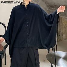 INCERUN Men Shirt Stand-Collar Button Streetwear Camisas-7 Loose Chic Casual Fashion