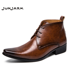JUNJARM Luxury Men Business Dress Boots Lace-up Vintage Brand Pointed Toe Brown Chelsea Leisure Botas Hombre