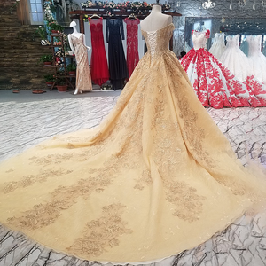 Image 2 - LS65740 flores douradas vestido bonito transporte rápido da china fora do ombro querida lace up de volta a linha barato vestido de noite