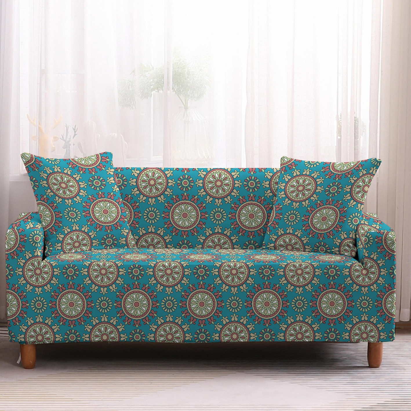 Bohemia Slipcovers Sofa Cover in Mandala Pattern to Protect Living Room Furniture from Stains and Dust 12