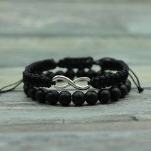 2 pcs/Set Handmade Infinity bracelet Charms Natural Stone Beads Moonstone Bracelets Set For Men Women Jewelry