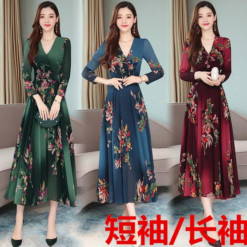 Photo Shoot 2019 Early Autumn New Style Retro Chiffon Floral Dress Women's Mid-length Long Sleeve Short Sleeve Printed Dress