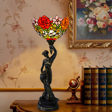 7 inch European pastoral Tiffany bedroom bedside lamp living room table