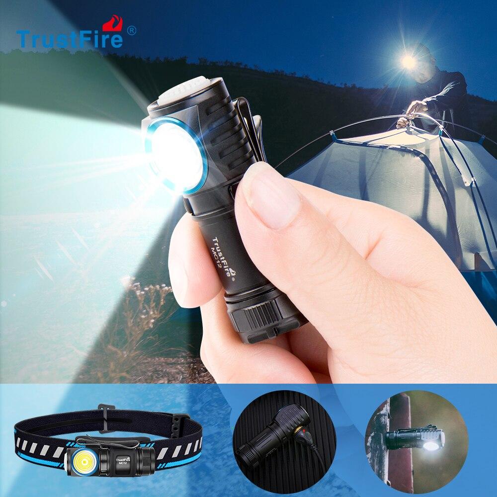 TrustFire MC12 EDC עוצמה LED פנס 1000Lumens מגנטי נטענת ראש מנורת CREE XP-L היי קמפינג לפיד פלאש אור
