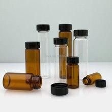 10pcs/lot 3ml 5ml 10ml 15ml 20ml 30ml 40ml 50ml (Clear/ brown) Glass Seal Bottle Reagent Sample Vials With Plastic Lid Screw Cap