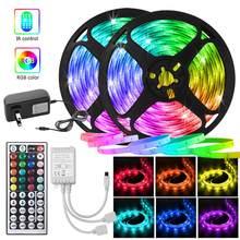 RGB 5050 Color change LED Strip light DC 12V Flexible Ribbon LED light Tape Diode + Remote Control +Adapter For Home decoration