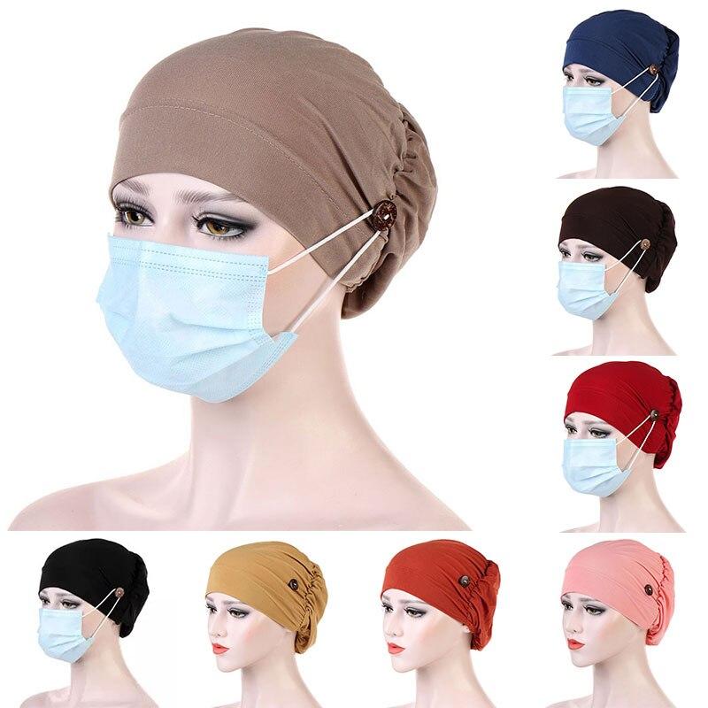 Повседневный тюрбан с пуговицами, Женский однотонный головной платок, маска-держатель, головной платок, женские мусульманские шапки, Женск...