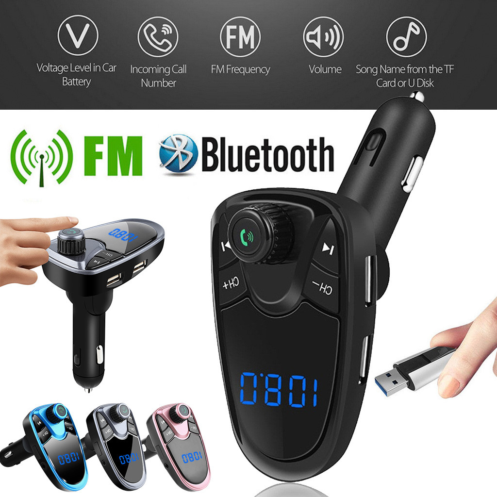 FM Transmitter Aux Modulator Bluetooth Handsfree Car Kit Car Audio MP3 Player With 2.1A Quick Charge Dual USB Car Charger