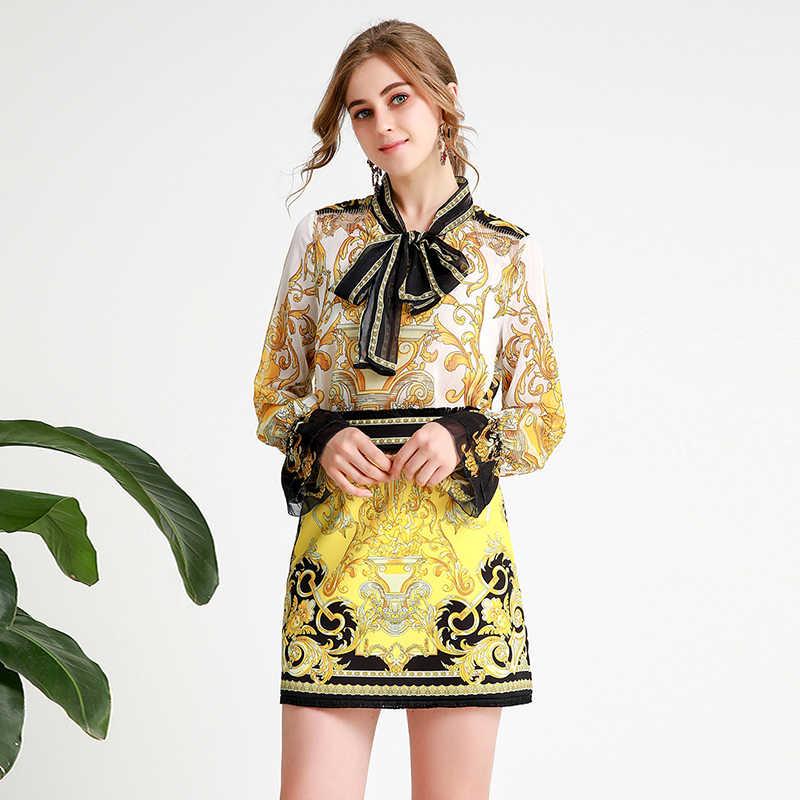 AELESEEN офисная Дамская подиумная одежда с принтом, женские элегантные расширяющиеся к низу рукава, Высококачественная шифоновая блузка с галстуком-бабочкой + комплект с мини-юбкой