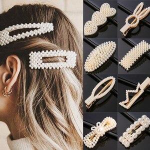 Geometric Hair Clip for Girls Fashion 2020 Pearl Hairpins Hair Accessories Women Beaded Korea Barrettes Hairgrips Headwear