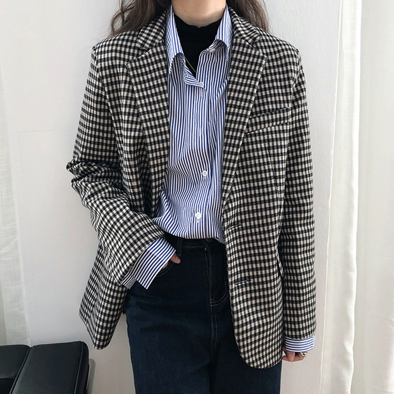 Single Breasted Plaid Blazer Women Black Pocket Long Sleeve Office Ladies Blazer Spring Autumn Jacket Female Outerwear Coats