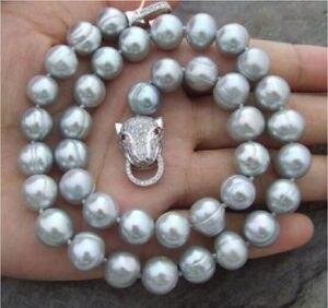 Broche de leopardo 10-11MM barroca NATURAL del Mar del Sur collar de perlas grises