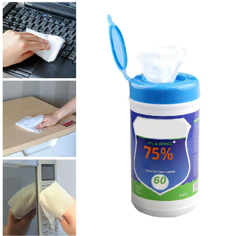 60pcs Disposable Disinfection Wipes Kill Bacteria Household Skin Cleaning Care Hygiene Wipes 75% Alcohol Disinfection Wipes