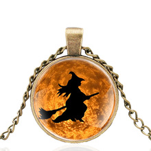 New Halloween broom witch of  Glass Dome Metal classic Necklace Vintage Men and Women Jewelry Gift