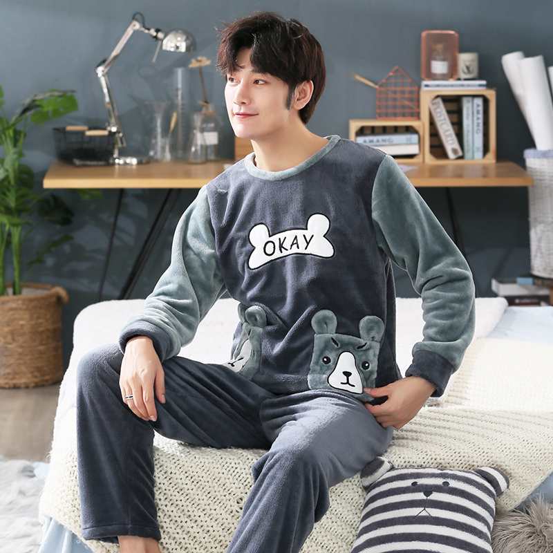 Plus Size 3XL 4XL 5XL Pajamas Long Sleeve Winter Warm Flannel Sleepwear Long Pant Luxury Clothes Men Pajama Sets 95kg Nightwear