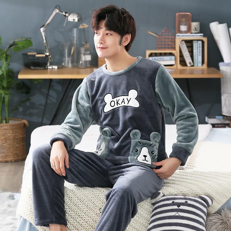 Plus Size 3XL 4XL 5XL   Pajamas   Long Sleeve Winter Warm Flannel Sleepwear Long Pant luxury clothes Men   Pajama     Sets   95kg Nightwear