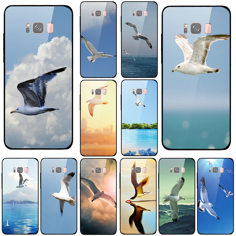 Flying <font><b>Seabirds</b></font> Animal <font><b>Case</b></font> Cover Tempered Glass Phone <font><b>Cases</b></font> for Samsung Galaxy A6 A8 S8 S9 S10 Plus Shell Bags image