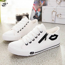 2019 new womens casual shoes flats breathable lip zipper fashion classic outdoor