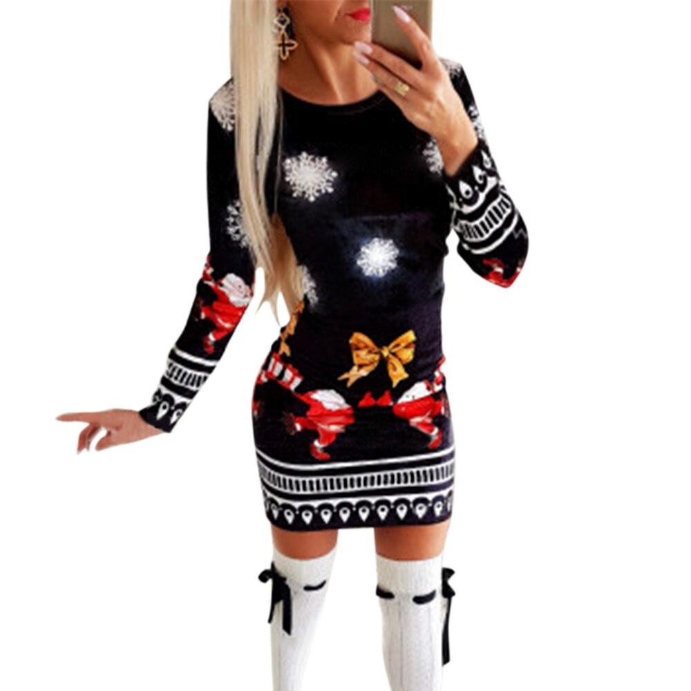 GVN Rocks Women Knitted Long Sleeve Christmas Bodycon