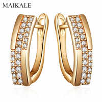 MAIKALE New Cubic Zirconia Simple Stud Earrings For Women Fine Jewelry Rose Gold Long Earrings Wedding Party Exquisite Jewelry