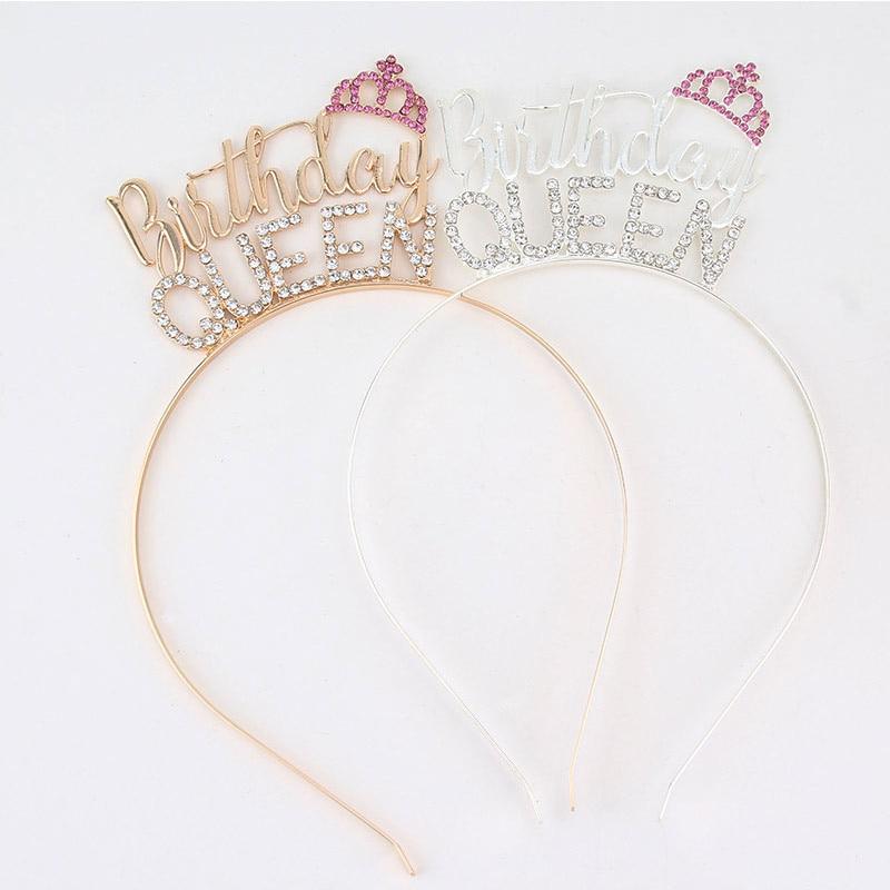 Корона королевы на день рождения, тиара, повязка на голову, пояс для женщин и девушек с днем 30th 40th 50th 60th 70th, украшения для вечеринки на день ро...