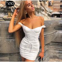 NewAsia hors épaule Robe d'été courbe coupe côté froncé taille croix cravate dos nu Sexy robes femme fête nuit Robe blanche