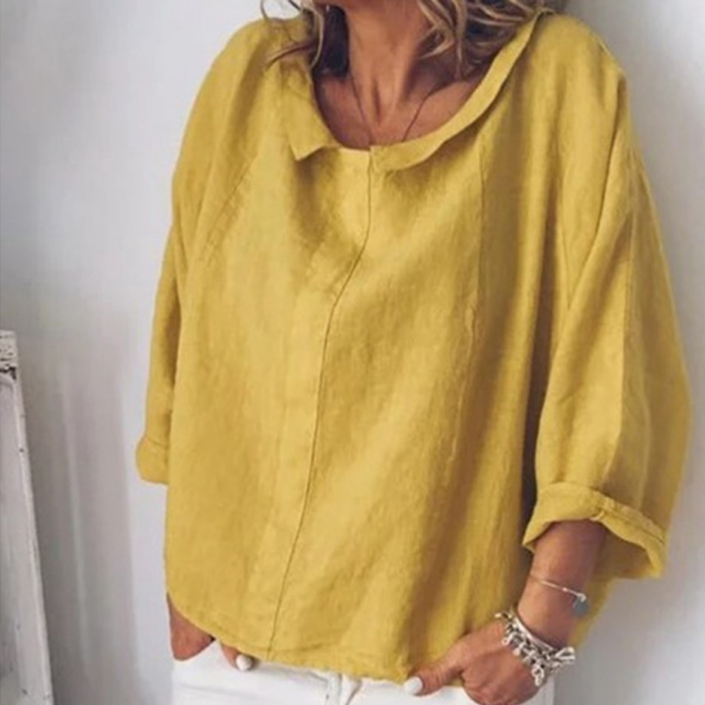 Womdee Women Tops   Blouses   2020 Autumn Casual Full-quarter Sleeve Solid Lapel Linen   Blouse   Female   Shirts     Blouse   Plus Size