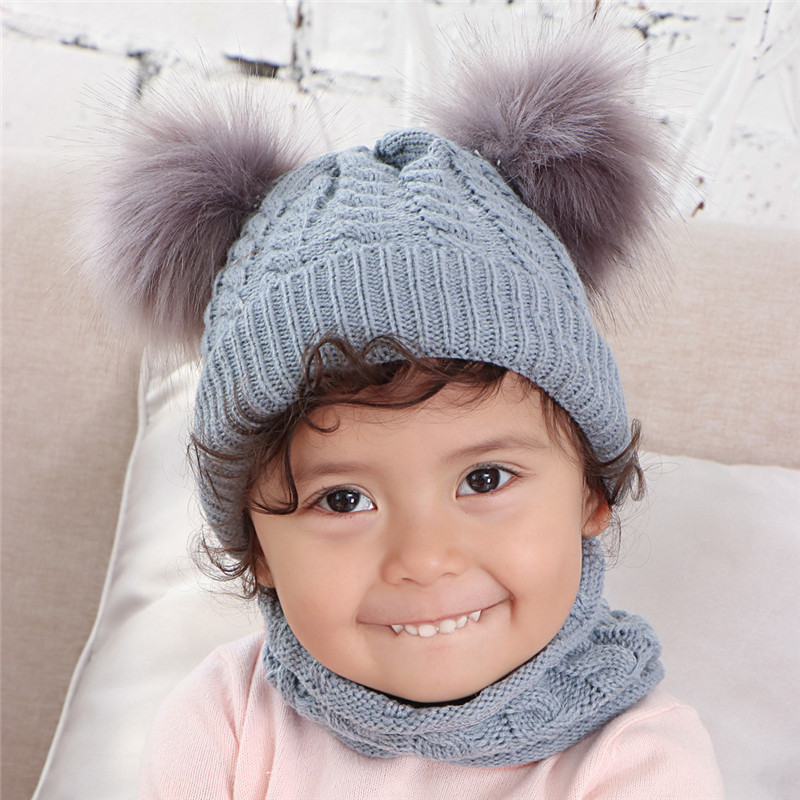 Winter Hat And Scarf For Children Faux Scorpion Hair Ball Baby Knitting Hats Scarves Set Kids Wool Sjaal Muts Bonnet Echarpe
