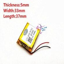 3.7V 750mAh [503337] Liter energie batterij lithium Polymeer ion/Li Ion batterij voor mp3 mp4 smart watch speaker POWER BANK