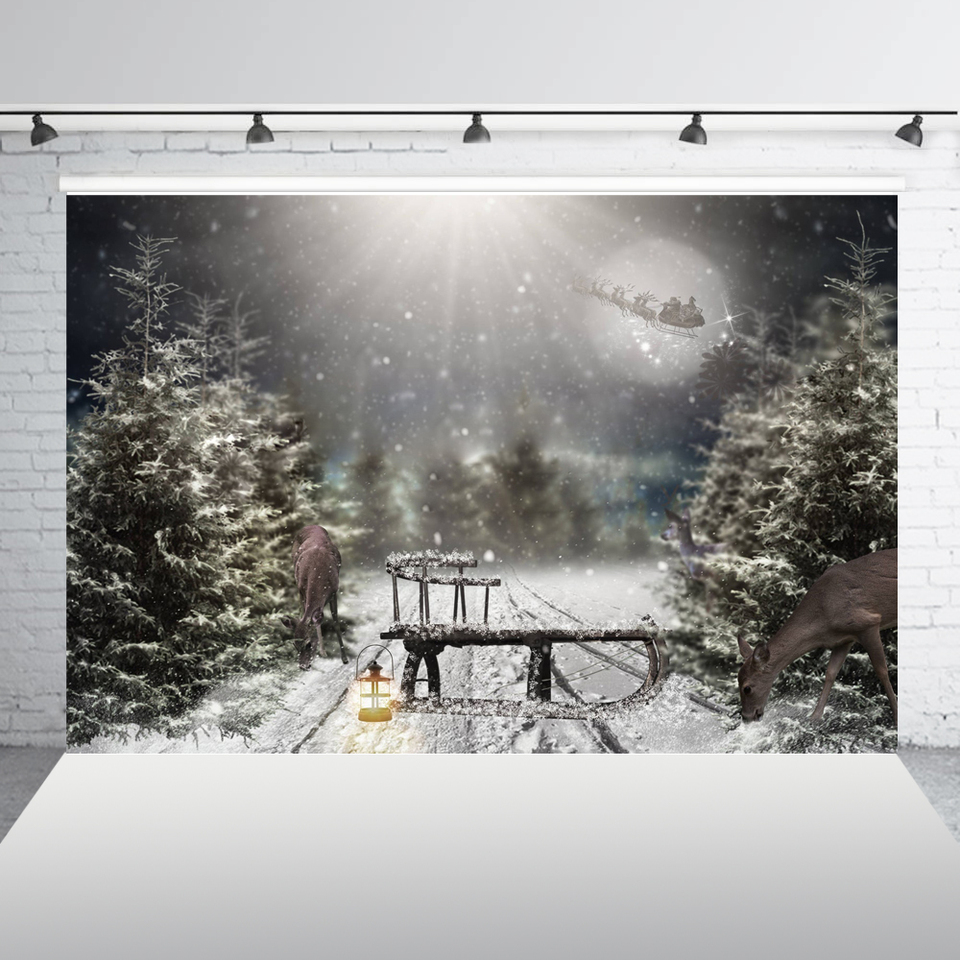 AOFOTO 10x10ft Christmas Photography Background Outdoor Snow Covered Trees Backdrop Snowflake Fir Trees Xmas Holiday Huts Lovers Boy Girl Adult Portrait New Year Photo Studio Props Seamless Wallpaper
