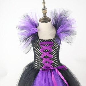 Image 5 - Filles bandes cornes noir mal maléfique reine déguisement dhalloween filles Tutu robe enfants noël robes de fête danniversaire XX0